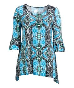 Love this Turquoise & Black Geometric Ruffle-Sleeve Sidetail Tunic - Plus on #zulily! #zulilyfinds