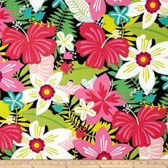Alexander Henry Tiki Dreams Tiki Garden Black from @fabricdotcom  Designed by De Leon Design Group for Alexander Henry, this cotton print fabric is perfect for quilting, apparel and home decor accents. Colors include black, pink, green, magenta, blue, white and citrus.