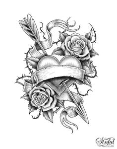 Rose Drawing Tattoo, Tattoo Design Drawings, Heart Tattoo Designs, Cool Art Drawings, Art Drawings Sketches, Colorful Drawings, Tattoo Sketches, Skull Tattoos, Rose Tattoos