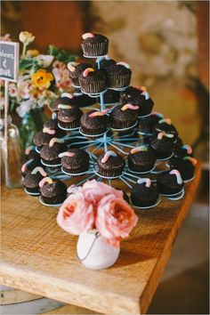 """What a fun cupcake flavor for a wedding! """"Worms and Dirt"""""""