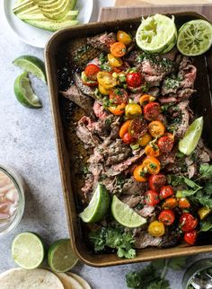 This flank steak recipe is so delicious, easy and versatile. The cilantro lime marinade is super flavorful! The steak can be used in fajitas, tacos, salads, nachos or as a main dish with some quinoa and asparagus on the side. Flank Steak Tacos, Marinated Flank Steak, Flank Steak Recipes, Beef Recipes, Salad Recipes, Cooking Recipes, Healthy Recipes, Flank Steak Fajita Marinade, Seafood Recipes