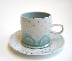 MADE TO ORDER Drippy Gold Polka Dot Cloud by SilverLiningCeramics, $52.00