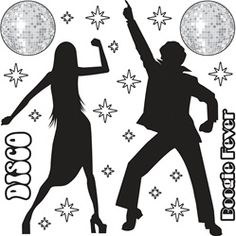 Disco Silhouette 70s Props - Tina this place has all sorts of items we can get. Disco napkins, props, center pieces.