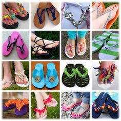 DIY~Turn inexpensive flip-flops into stunning masterpieces. Lots of tutorials.