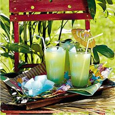 Southern Breeze: This kid-friendly punch makes a special treat out of lemonade mix by mixing it with the tropical flavor of pineapple juice and the bubbly carbonation in ginger ale. Serve with paper cocktail umbrellas for a fun entertaining touch.    So doing this this Summer!!   Recipe Link: http://www.myrecipes.com/recipe/southern-breeze-10000000332023/