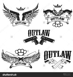 Set of Outlaw t-shirt print design templates. Guns with wings. Vector design elements for label, logo, emblem, poster, t-shirt print template.