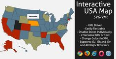 Buy Interactive SVG USA Map by LGLab on CodeCanyon. The map is now responsive, but you can still turn responsive off if you don't need it New! Cricut Ideas, All The Colors, Color Change, Clip Art, Silhouette, Map, Black, Black People, Location Map