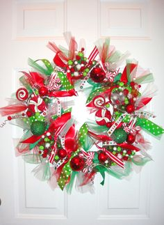 Christmas In Candyland Wreath with or without wooden initial. $68.00, via Etsy.