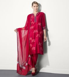 Red #Chanderi #Silk #Embroidered #Churidar #Suit by #Am:Pm at #Indianroots