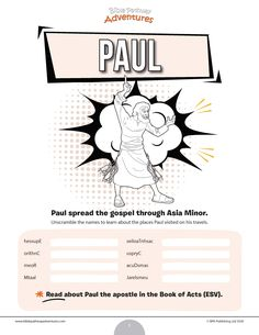 The apostle Paul word scramble puzzle | Apostle Paul activities for kids | Paul the apostle worksheets | FREE download! Bible Resources, Bible Activities, Activities For Kids, Puzzles For Kids, Worksheets For Kids, Sabbath School Lesson, Paul The Apostle, Religious Education, Free Bible