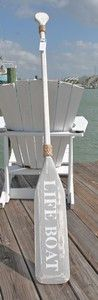 """Wooden Distressed Paddle- White & Gray Lifeboat- 5'5"""" 
