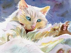 Persian Cat Art Print of my Watercolor Painting por rachelsstudio