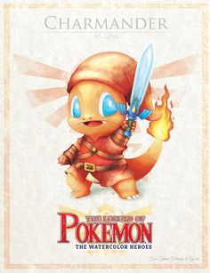 """Charmander - pxlbyte: """" The Legend of Pokemon Graphic designer David Pilatowsky is the man behind these Pokemon - Legend of Zelda mashups. These were of my favourites, you can find the multi-part gallery here. Pokemon Zelda, Les Pokemon, Lucario Pokemon, Pokemon Sets, Pokemon Fan Art, Charmander, Cute Pokemon, Charizard, Digimon"""