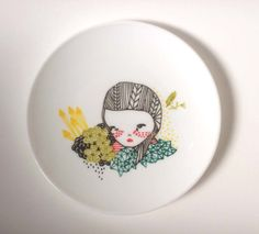 hand painted plate. $32.00, via Etsy.