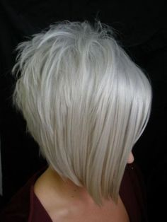 inverted Bob Haircut with Grey Hair, bob haircuts for fine hair,inverted bob…