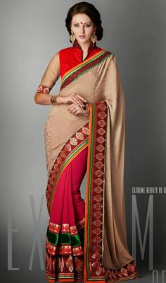Exude graceful charm draping this beige and fuchsia crepe jacquard half n half saree. You can see some fascinating patterns completed with lace, resham, stones and velvet patch work. #StunningEveningSareeCollection
