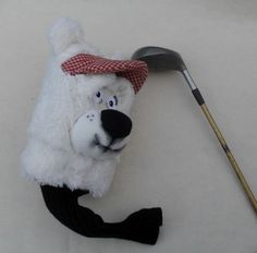 Golf club cover - Polar bear - Puppets in a bag - custom made puppets , puppet maker in London , puppet builder , puppet show, handmade puppets ,hand puppet sets