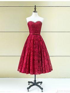 sweetheart tea length lace prom dresses #promdresses #SIMIBridal