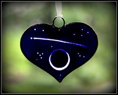 Shooting Star Over Crescent Moon - Stained Glass Heart Suncatcher on Etsy, $21.00