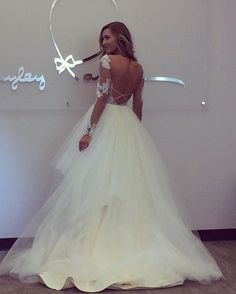 """Sassy with sleeves """"Pippa"""" gown #blush by #hayleypaige #bridalfashionweek #nybfw #sassy @misshayleypaige"""