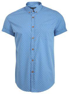 Blue Circle Print Shirt