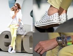 Love the yellow denim and the spiked sneakers!