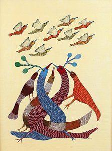Gond Tribal Art Paintings - Birds Ds 174 by Dilip Shyam Gond Painting, Krishna Leela, Tree Illustration, Illustrations, Art Paintings For Sale, Tribal Art, Night Life, Fine Art America, Folk Art