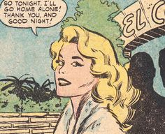 """Comic girls say.. """" So tonight I'll go home alone. Thank you and good night """"   #Vintage #Comic, #Pop Art"""