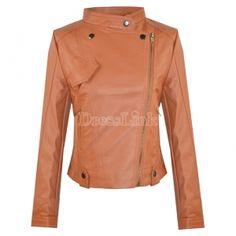 Synthetic Leather Motorcycle Jacket Women's Coat Slim Fit Top Orange