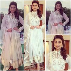 White Anarkali with embroidery. Can be stitched in any color and size.