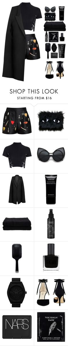 """""""On wednesdays we wear black"""" by riasgremoryx ❤ liked on Polyvore featuring STELLA McCARTNEY, Joanna Pybus, Glamorous, Givenchy, Home Source International, Kat Von D, GHD, RGB Cosmetics, adidas Originals and Nine West"""
