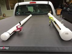 Pvc fishing rod holders. Just used pvc pipe with end caps. And cut slits for the...