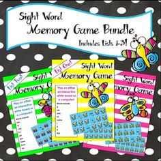 Sight word match game BUNDLE featuring lists 1 -3. Three games to review with the whole class or play in small groups! The bright, colorful graphics appeal to the littlest learners. My students absolutely love playing memory games on the Whiteboard. This game is a fun and easy way to incorporate technology into your classroom while reviewing sight words.