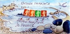 Dunford Wood's picture of four British stamps 'rowing' a gig from the Cobb to Barfleur harbour (via Lyme Regis)