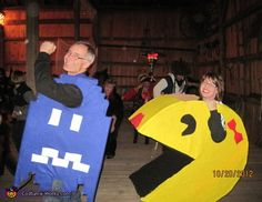 Ms. Pac Man and the Blue Ghost - 2014 Halloween Costume Contest via @costume_works