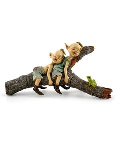Take a look at this Twin Garden Pixies Napping on Tree Log Figurine today!