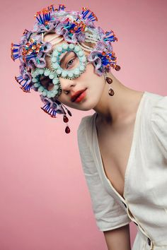 Colorful fairy mask flower headpiece, haute couture fashion costume accessories - Make-up - eleganterstil Costume Fleur, Costume Accessories, Fashion Accessories, Bridal Accessories, Wedding Jewelry, Fashion Jewelry, The Mask Costume, Crochet Mask, Flower Headpiece