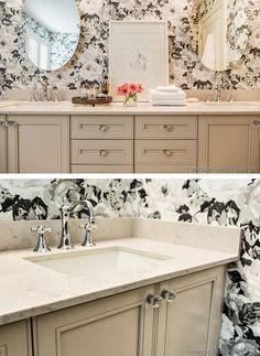 It doesn't take a complete renovation to update your bathroom. Interior designer Vanessa Francis show how much difference you can make with just a few simple updates, including the countertop, sink and faucet.    @vanessajfrancis