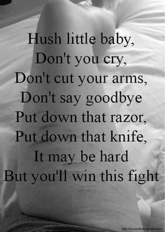 Girls AND Boys put it down... This is to all my followers struggling with self harm... <3 I believe in you. Keep fighting.
