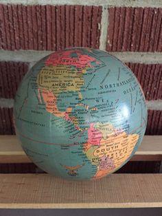 "Vintage Map 5"" Globe Ball | 1960s | Paper Mache | Greenish Blue | Home Decor"