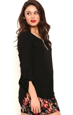 Deb Shops Three Quarter Roll Tab Sleeve TOp with Envelope Back $17.15