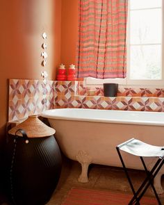 43 Awesome Colorful Bathroom Design Ideas: 43 Awesome Colorful Bathroom Design Ideas With White Orange Window Curtain And Bathtub And Chair And Rug And Brown Ceramic Floor Orange Bathroom Decor, Peach Bathroom, Bathroom Colors, Bathroom Sets, Bathroom Interior, Colorful Bathroom, Cozy Bathroom, Paint Bathroom, Brown Bathroom