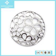 Joyería de moda plata esterlina hollow flores placa medallón ...