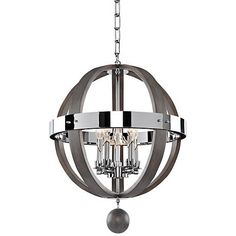 Add a modern accent to home decor with this circular, charcoal finish, 5-light orb pendant, featuring silverleaf infused clear glass.