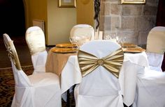 Chair Cover Rentals Langley Cute Bean Bag Chairs 174 Best Sashes Bows Images Wedding Gold Bands With Diamante Brooch On White Covers At Castle Decorations