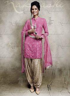 Amazing Pink Georgette With All Over Gold Bottom Salwar Suit http://www.angelnx.com/Salwar-Kameez/