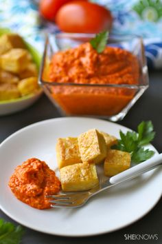 Baked tofu with smoky romesco sauce