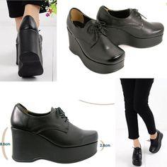 Black Lace-Ups Platforms Wedges Loafers Heels Women Shoes US 4.5~7.5 #Unbranded #PlatformsWedges
