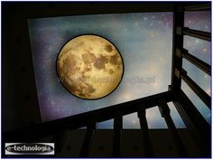 LED lighting staircase created by the use of a special ceiling of a tension with the Moon. It serves as a lamp that shines its entire surface thanks to LED lighting and is also excellent lighting a major. Beautiful night sky adorned with a full moon, the light decoration doing the excellent impression. The ceiling of the moon also acts as a mood that creates a cozy and unique atmosphere.  www.e-technologia.pl