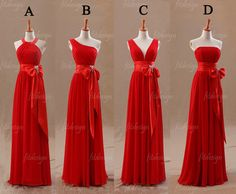 red+bridesmaid+dress+long+bridesmaid+dress+chiffon+by+fitdesign,+$126.00